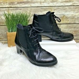 Everybody Gia Black Leather Lace Up Ankle Boots